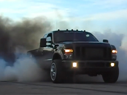 Large Truck Convoy Joins Together To Burn Out At Toops Performance