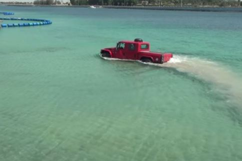 VIDEO: The Big Red Truck Versus The Big Red Sea