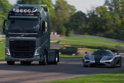 Supercar Koenigsegg One Matches Off With Mega Truck Volvo FH