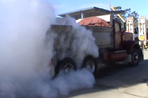 Video: 8 Wheel Burnout In A Dump Truck - Epic!