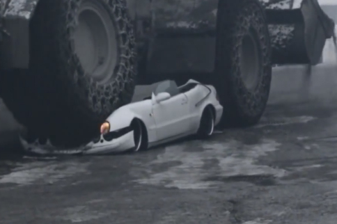 Video: Mercedes Coupe Crushed By BIG Front Loader - Real or Hoax?
