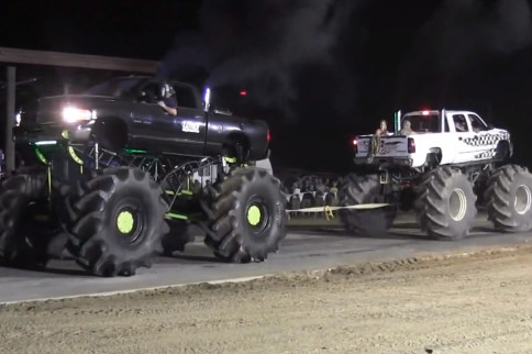 Video: Massive Dodge And Chevy Mega Trucks Compete In Tug-A-Truck