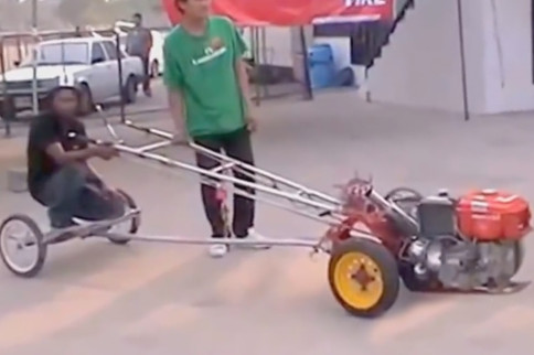Video: Guy Rides Kubota Diesel Powered Chariot Down The Track